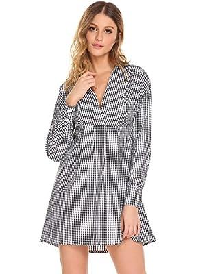 GEESENSS Women's Casual Long Sleeve Plaid Boyfriend Shirt Dress