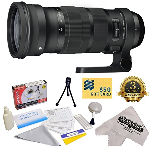 - Sigma 120-300mm f/2.8 DG OS HSM Lens With 3 Year Extended Lens Warranty for The Nikon D1 D1X D1H D2X D2Xs D2H D2Hs D3 D3X D3s D100 D200 D300 D300S D700 D7000 D7100 D3000 D3100 D3200 D5000 D5100 D5200 D5300 D40 D40X D50 D60 D70 D90 D80 DSLR Camera Includes - Vivitar 105mm Multi-Coated UV Filter + Deluxe Lens Cleaning Kit + LCD Screen Protectors + Mini Tripod + 47stphoto Microfiber Cloth + $50 Photo Print Gift Card!