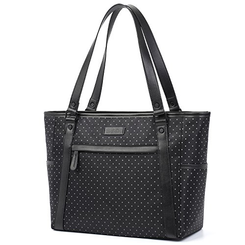 Womens Laptop Bag, BRINCH Stylish Nylon Zip White Dot Laptop Tote Purse Shopping Bag Carry Travel Business Briefcase Shoulder Handbag for Up to 15.6 Inch Laptop / Notebook / MacBook Computer,White Dot