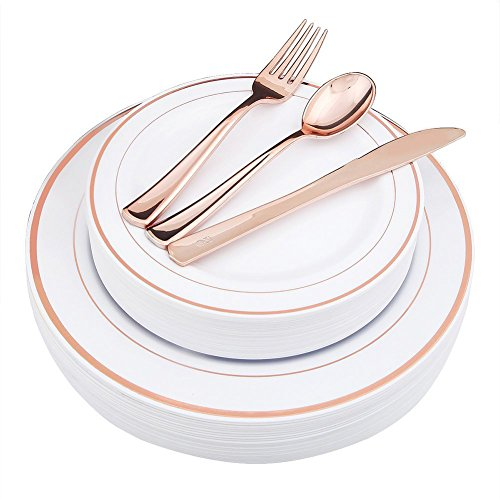 Lasting Rose - WDF-125 Piece Rose Gold Plastic Silverware Set&Disposable Plastic Plates- Premium Heavyweight Plastic Place Setting include 25 Dinner Plates,25 Salad Plates,25 Forks, 25 Knives, 25 Spoons(Rose Gold)