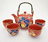 Japanese Tsubaki Camelia Flower Tea Set Ceramic Teapot with Rattan Handle and 4 Tea Cups (Red)