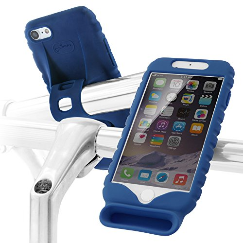 Horn Series Speaker (iPhone Bike Mount Holder with Acoustic Sound Amplifier Speaker, Bicycle Handlebar Stroller Cradle Silicone Case for iPhone 8/iPhone 7/iPhone 6 6S, BIKE HORN SERIES - Dark Blue)