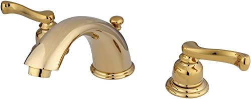 Elements of Design Royale EB8962FL Widespread Lavatory Faucet with Brass Pop-Up, 8-Inch to 16-Inch, Polished Brass