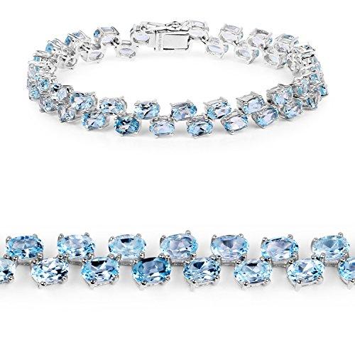 29.90 Carat Genuine Blue Topaz .925 Sterling Silver Bracelet