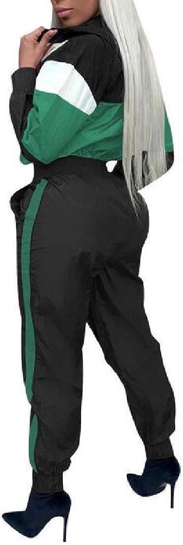 Cromoncent Womens Elastic Waist Long Sleeve Playsuit Romper One Piece Jumpsuit