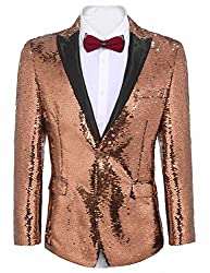 Men's Shiny Sequins One Button Jacket