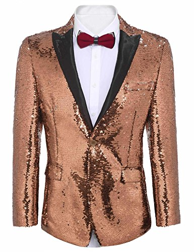 COOFANDY Shiny Sequins Suit Jacket Blazer One Button Tuxedo For Party,Wedding,Banquet,Prom,Nightclub, Rose Gold, X-Large -