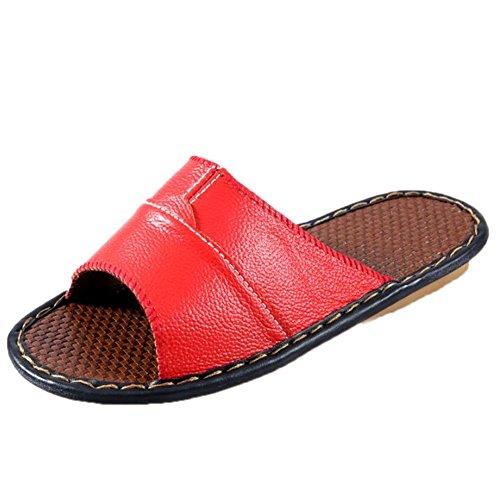 Leather Floor Rouge Slippers Men for TELLW Autumn Women Corium W Smelly Cowhide Anti Wooden Summer Spring 1w4axzwTXq
