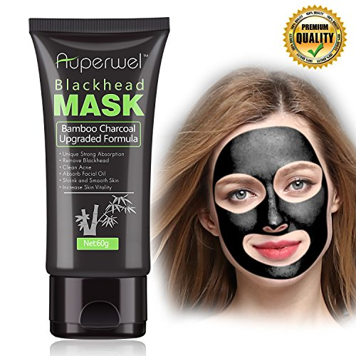 Blackhead Remover Mask Black Mask - Auperwel Purifying Quality Peel off Charcoal Deep Cleaning Mud Facial Mask 2.11 ounce (Black Mask) (Facial Peeling Mask)