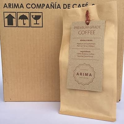 Organic Arima Special Dark or Medium Roasted Coffee Beans From Guatemala :: Direct Trade, Rain Forest Alliance certified :: 12 oz