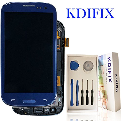 KDIFIX for Samsung Galaxy S3 i9300 i9305 i535 T999 i747 LCD Touch Screen Assembly + Frame with Full Professional Repair Tools kit (Blue+Frame) (Galaxy S3 Screen Replacement Blue)