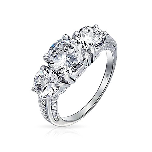 Vintage Style Milgrain 3CT Round Solitaire 3 Stone Past Present Future Promise CZ Engagement Ring 925 Sterling Silver