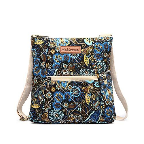 - Malirona Women Crossbody Purse Hipster Cross Body Bag Canvas Shoulder Handbag Floral Design (Black Flower)