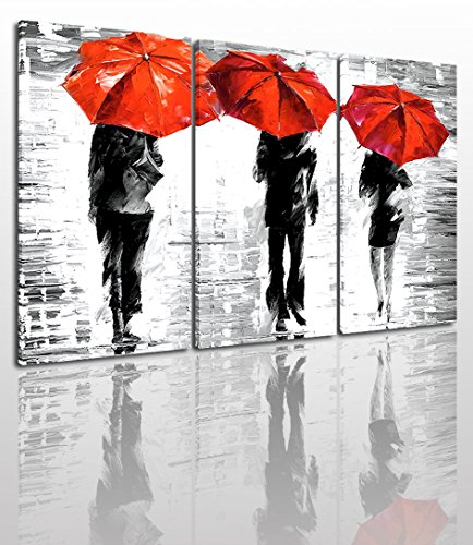 - Black White And Red Canvas Wall Art Painting Modern Design Picture For Home Office Decor - 3 Pieces People In Rain Framed On Wooden Frame Image Pictures Photo Artwork Decoration Ready To Hang…