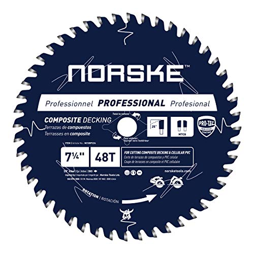 "Norske Tools NCSBP226 7-1/4"" x 48T Composite Decking (Trex) & Bamboo Decking Saw Blade"