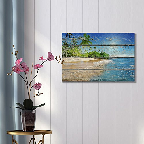 Tropical Beach with Palm Tree on Vintage Wood Background Rustic ation