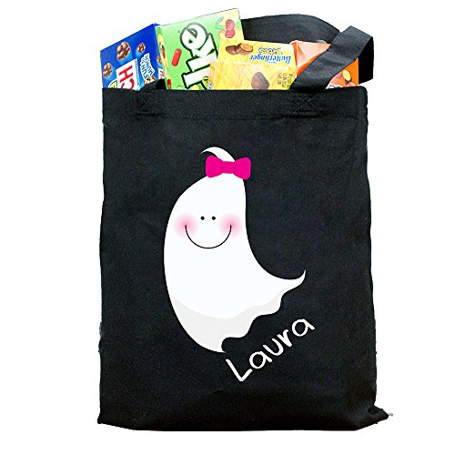 (GiftsForYouNow Halloween Ghost Personalized Trick or Treat Bag, Girl)