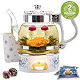 Teabloom Princess of Monaco Teapot & Blooming Tea Gift Set (6 Pieces) - Borosilicate Glass Teapot (34oz/1000ml), Porcelain Lid, Teapot Warmer,...