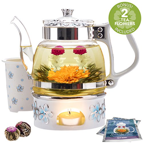 Teabloom Princess of Monaco Teapot & Blooming Tea Gift Set (6 Pieces) - Borosilicate Glass Teapot (34oz/1000ml), Porcelain Lid, Teapot Warmer, Porcelain Tea Infuser + 2 Berry Flowering Teas