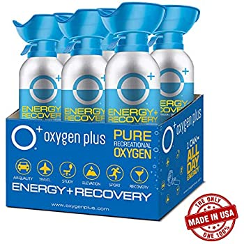 Oxygen Plus Oxygen Cans - O+ Biggi 6-Pack, Boost Oxygen Levels with Portable & Concentrated Recreational Oxygen for High Altitude Performance & Energy, ...