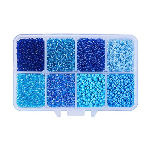 Pandahall 1 Box (About 8000pcs) 12/0 Mixed Blue Round Glass Seed Beads, 2mm