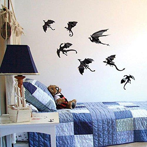 Fheaven 7Pcs / Lot Halloween Gothic Wallpaper PVC Stickers 3D Dragon for Wall Decoration