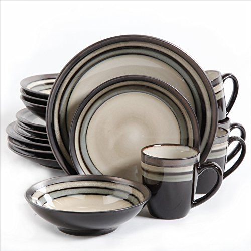 Gibson Lewisville 16 Piece Dinnerware Cream with Gray Reactive Metallic Rim, Cream/Gray Bistro Kitchen