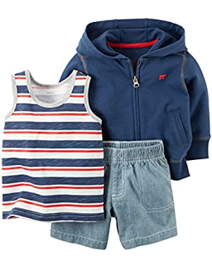 Carter's Baby Boys' 3-Piece Hooded Cardigan Short Set - 24 Months