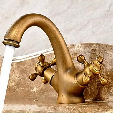 SQL Antique Centerset ceramic valve two holes and two handles antique brass bathroom sink faucet