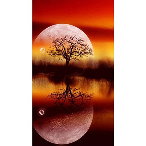 Price comparison product image 5D DIY Diamond Painting By Number Kits,  Full Square Drill Sky Moon Trees Paintings Pictures Arts Craft for Home Wall Decor ZYEE (Multicolor)