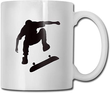 Amazon Com Skater Silhouette Doing Ollie Skateboard Trick Portable Classic Ceramic Mug Coffee Cup Travel Mug 11 Ounce Kitchen Dining