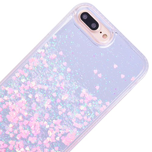 WE LOVE CASE Funda iPhone 7/iPhone 8, Rígida Liquido Glitter Cáscara Protección Bumper Agua Dura Funda iPhone 7/iPhone 8 Purpurina Brillo Brillante Liquide Clear Cover, Funda iPhone 7 Resistente Bling Rosado