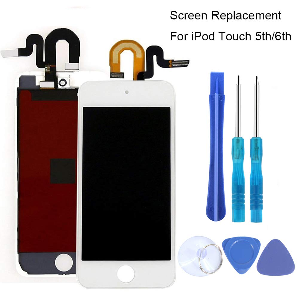 Full Screen Replacement for iPod Touch 5 5th 6 6th LCD Screen The Whole Display Assembly + Repair Tools (iPod Touch 5/6 White) by iezfix