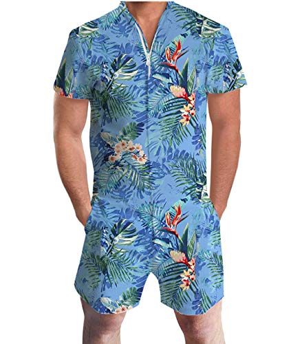 Idgreatim Men Fashion Hawaii Style Jumpsuit Short Sleeve 3D Graphic Rompers Overalls with Pocket Zipper XXL ()