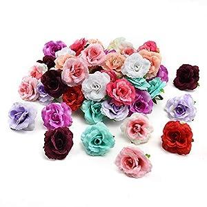 Silk Flowers in Bulk Wholesale Artificial Flower Silk Rose Handmade Flower Head Wedding Decoration DIY Wreath hat Dress Clip Accessories 30pcs 4.5cm 94