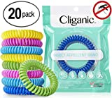 Cliganic 20 Pack Mosquito Repellent Bracelets, 100% Natural | Bug & Insect Protection, Waterproof DEET-Free Band | Pest Control for Kids & Adults