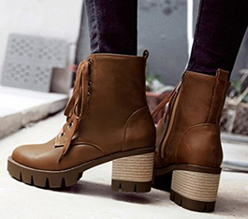 IDIFU Womens Comfy Mid Chunky Heels Lace Up Side Zipper Lug Sole Martin Ankle Boots Brown aqHfx8U