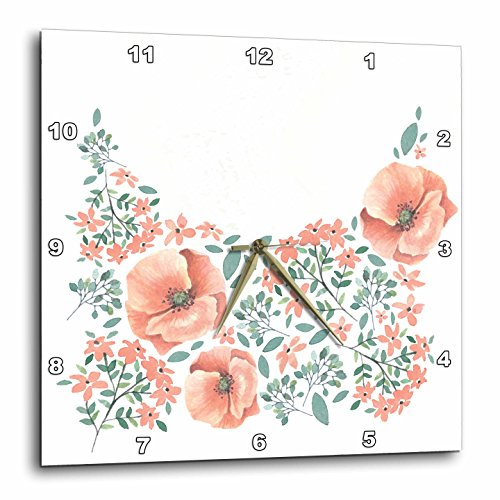 3dRose Pretty Watercolor Peach, Green, and Gray Pansy Flowers and Leaves Wall Clock, 10 x (Pansy Clock)