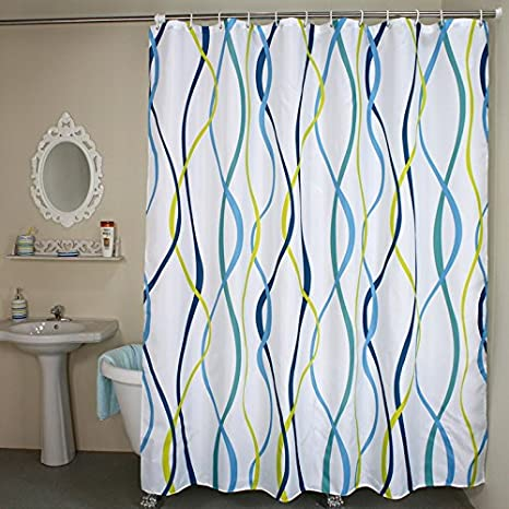 48 X 72 Vertical Striped Welwo Shower Curtains Wave Stripe Fabric