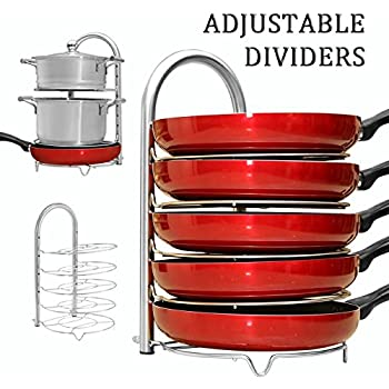 WiseLife Height Adjustable Pan Pot Organizer Rack£¬ 5-Tier Stainless Steel£¬10, 11 & 12 Inch Heavy Duty Kitchenware Cookware Pot Rack Holder Kitchen Cabinet Countertop Storage Solution