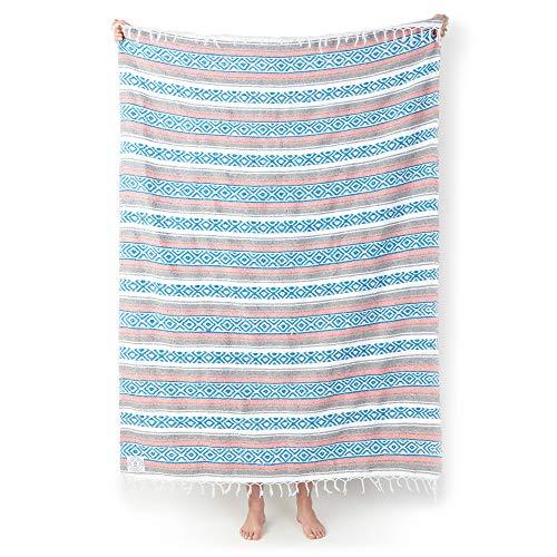 Mexican Serape Blanket by Laguna Beach Textile Co | Classic Artisan Throw | Woven Falsa, Traditional Colors | Beach, Camping, Couch, Sofa, or Picnic Decor | Gray Blush by Laguna Beach Textile Company