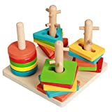 Linshop Geometric Matching Blocks Three-dimensional Jigsaw Puzzle Wooden 0-3 Years Old Baby Toys