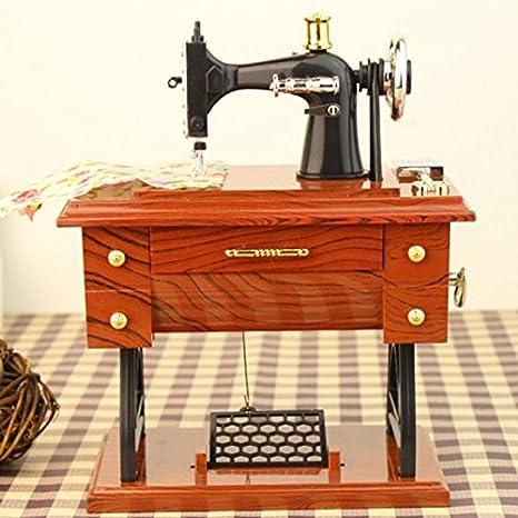 Mini Retro máquina de Coser Vintage Treadle Caja Musical Style Clockwork decoración de casa Cadea: Amazon.es: Hogar