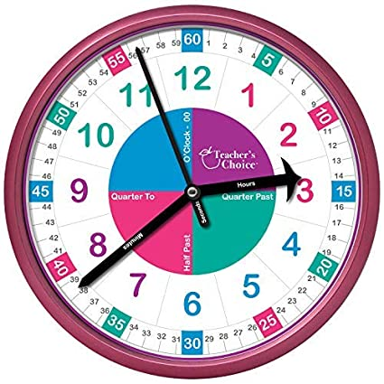 Amazon.com: Educational Wall Clock | Time Teaching Clock Perfect for ...