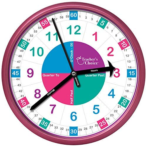 Educational Wall Clock | Time Teaching Clock Perfect for Teacher's Classrooms and Kid's Bedrooms (Pink)