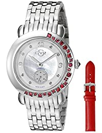 GV2 by Gevril Women's 9890 Marsala Gemstone Analog Display Swiss Quartz Silver Watch