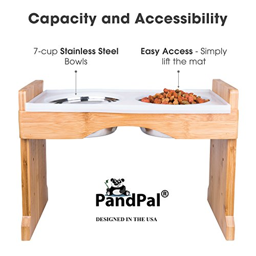 Adjustable Raised Pet Dog Feeder U2013 Waterproof Design, W/ Silicone Mat U0026 4  Stainless Steel Bowls By PandPal, Elevated Food U0026 Water Tray Stand, Bamboo  Feeding ...