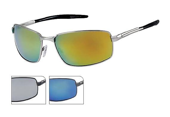Chic-Net Sonnenbrille Herren Brille grau sportlich verspiegelt getönt 400 UV Bügel zweiteilig blau aYaExit