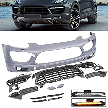 Porsche Cayenne 2011-2014 Front Bumper Conversion Kit Turbo Style GTS w/ Harness