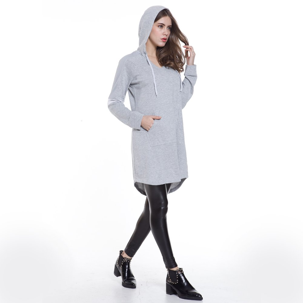 Eworldwing Spring Woman Mesh Sleeves Hoodies Dress V Neck Casual Arc Hem Cotton Sweatshirt (Gray, XXL) by Eworldwing (Image #2)